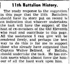 11th Battalion History from 1935