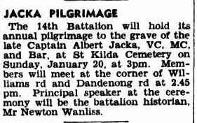 Albert Jacka VC Pilgrimage St Kilda Cemetery